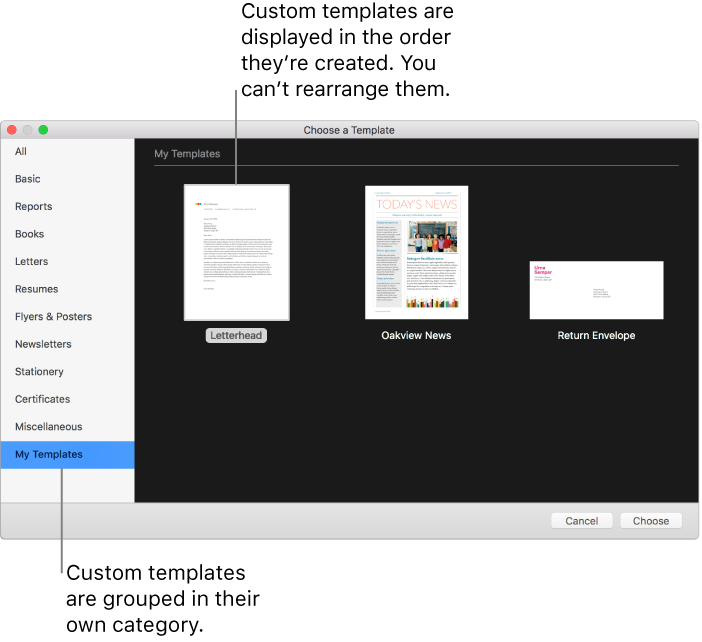 Pages for Mac: Create custom Pages templates.
