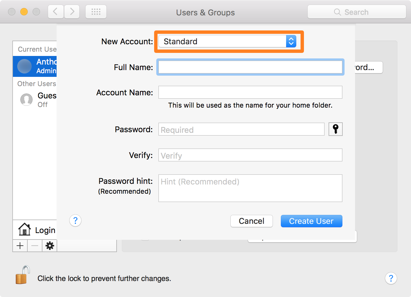 Creating another admin user on your Mac.