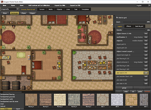 Dungeon maps for RPG. Create maps online, download as PDF and PNG..