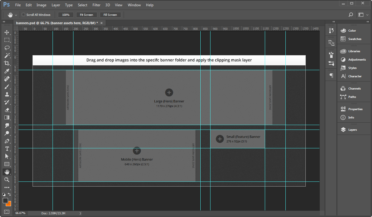 Creating banner images using a template.