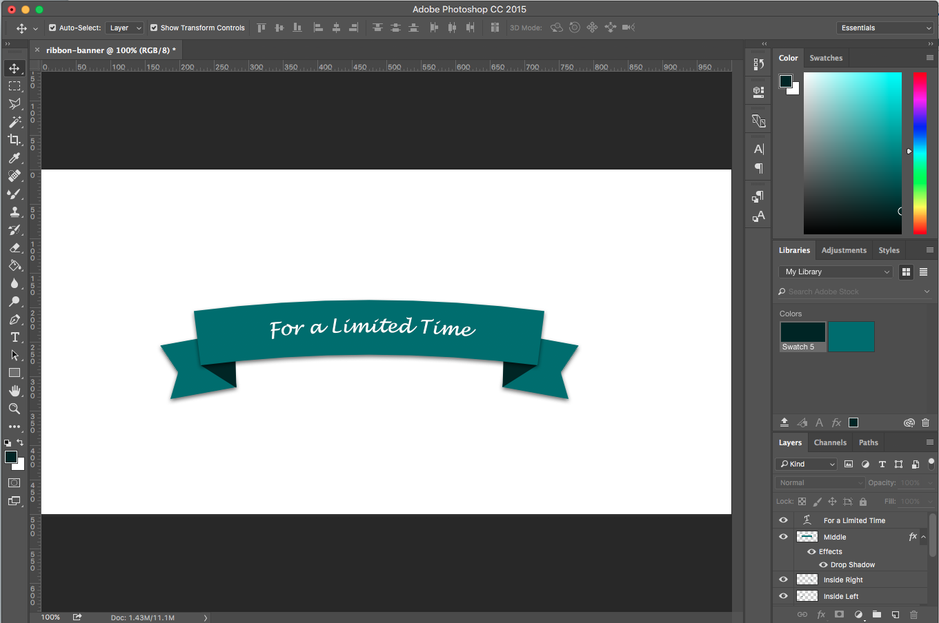 Photoshop Tutorial: How to Create a Ribbon Banner.
