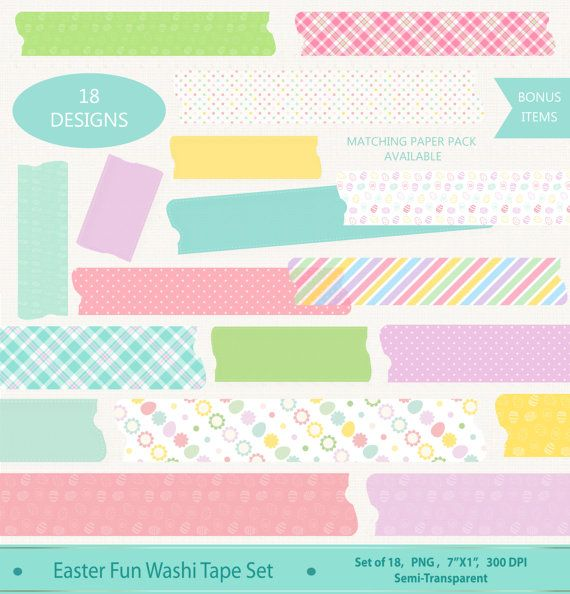 Have some Easter fun with this set of Easter Washi tape. Use.