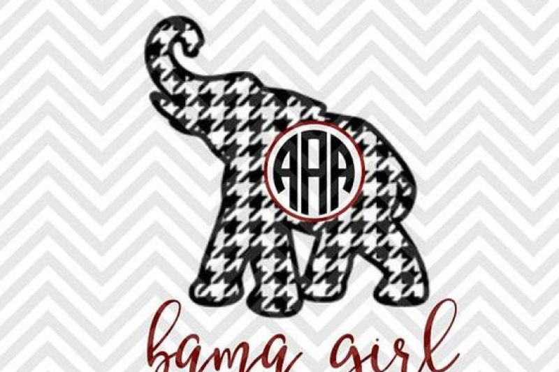 Free Bama Girl Houndstooth Monogram Elephant Roll Tide Alabama SVG.