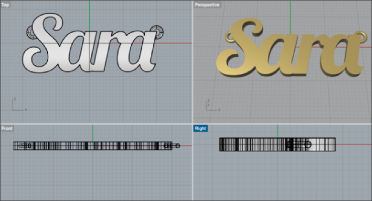 Make a Nameplate Necklace Using Illustrator and Rhino CAD.