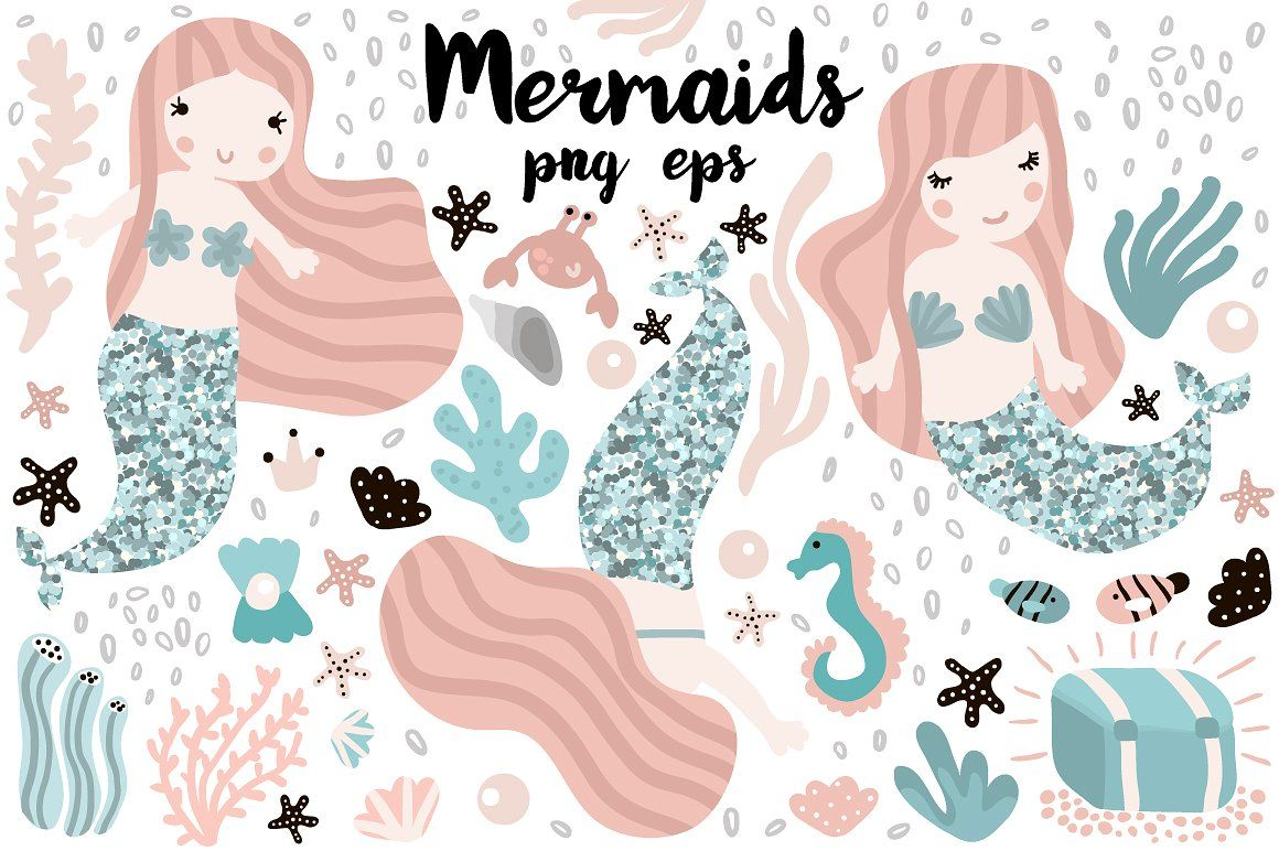 Mermaids under sea clipart , #affiliate, #Mermaid#create.