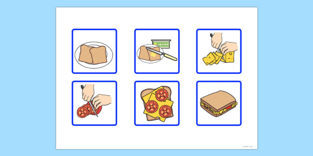 6 Step Sequencing Cards Making a Sandwich.