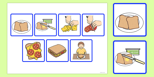 7 Step Sequencing Cards Making a Sandwich.