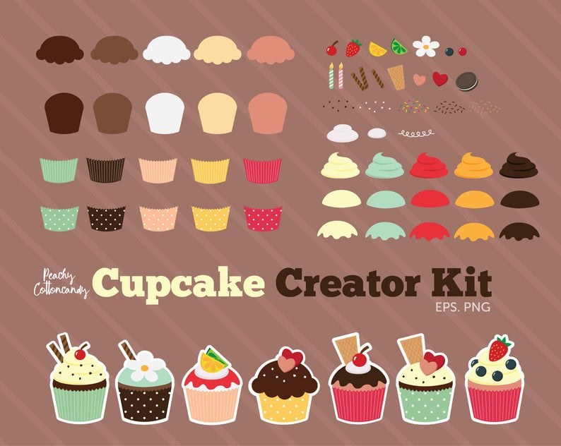 BUY 2 GET 1 FREE Create Your Own Cupcakes Clipart.