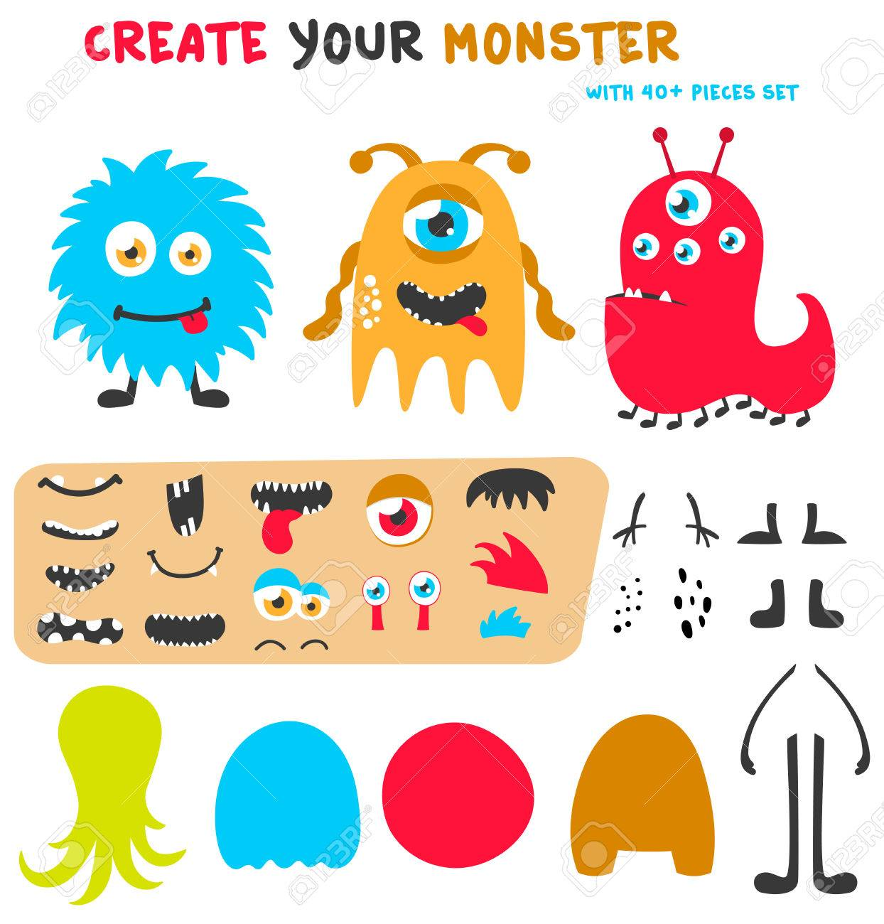 Cartoon funny monsters creation kit. Create your own monster...