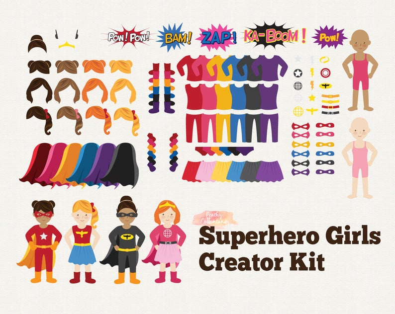 BUY 2 GET 1 FREE Superhero Girl Clip Art Creator Kit.