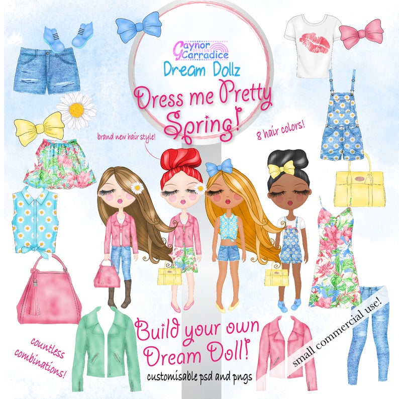 Spring clipart Create your own Dream Doll clipart fashion girl clip art  Planner graphics Customisable cute girls Outfits Stickers Top knot.