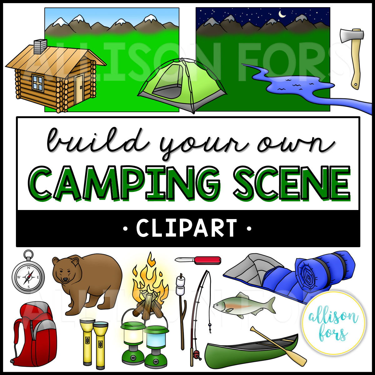 Build Your Own: Camping Scene Clip Art.