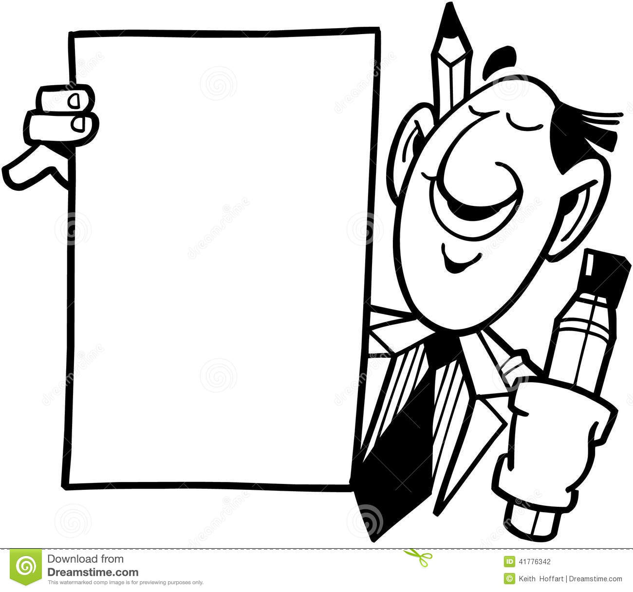 Man With Sign Template Cartoon Vector Clipart Stock Vector.