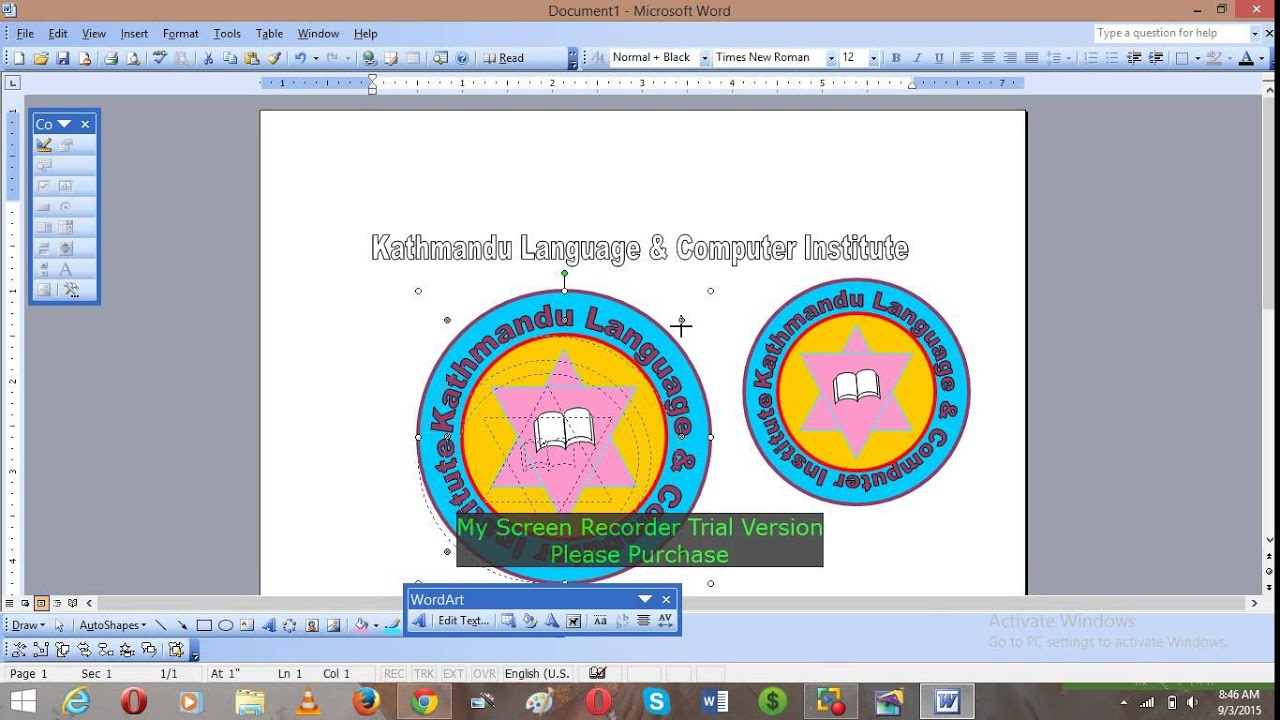 How to make Logo in Word 2003 & 2013.