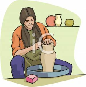 Clipart Picture of a Woman Creating Pottery.