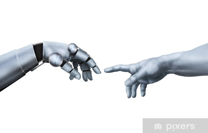 Michelangelo: Creation of Adam. Robot Hand. Wall Mural.