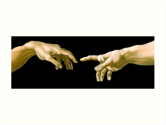 ' Touch of God, The Creation of Adam, (close up), Michelangelo, 1510,  Genesis, Ceiling, Sistine Chapel, Rome, on BLACK' Art Print by TOM HILL.