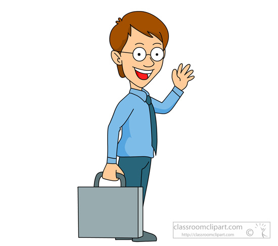 Man holding briefcase clipart.