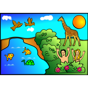 Man and animals creation clipart.