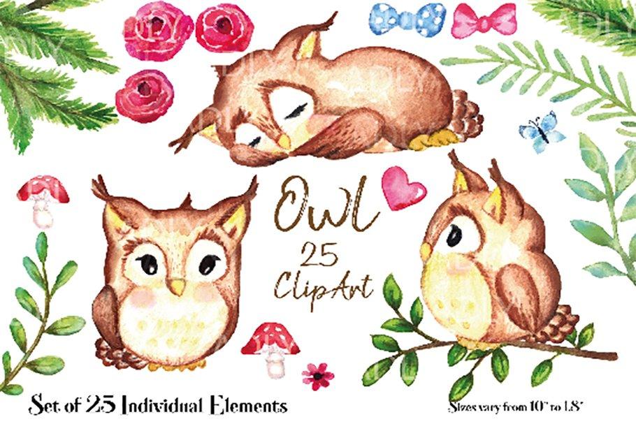 neutral owl watercolor clip art, bow.