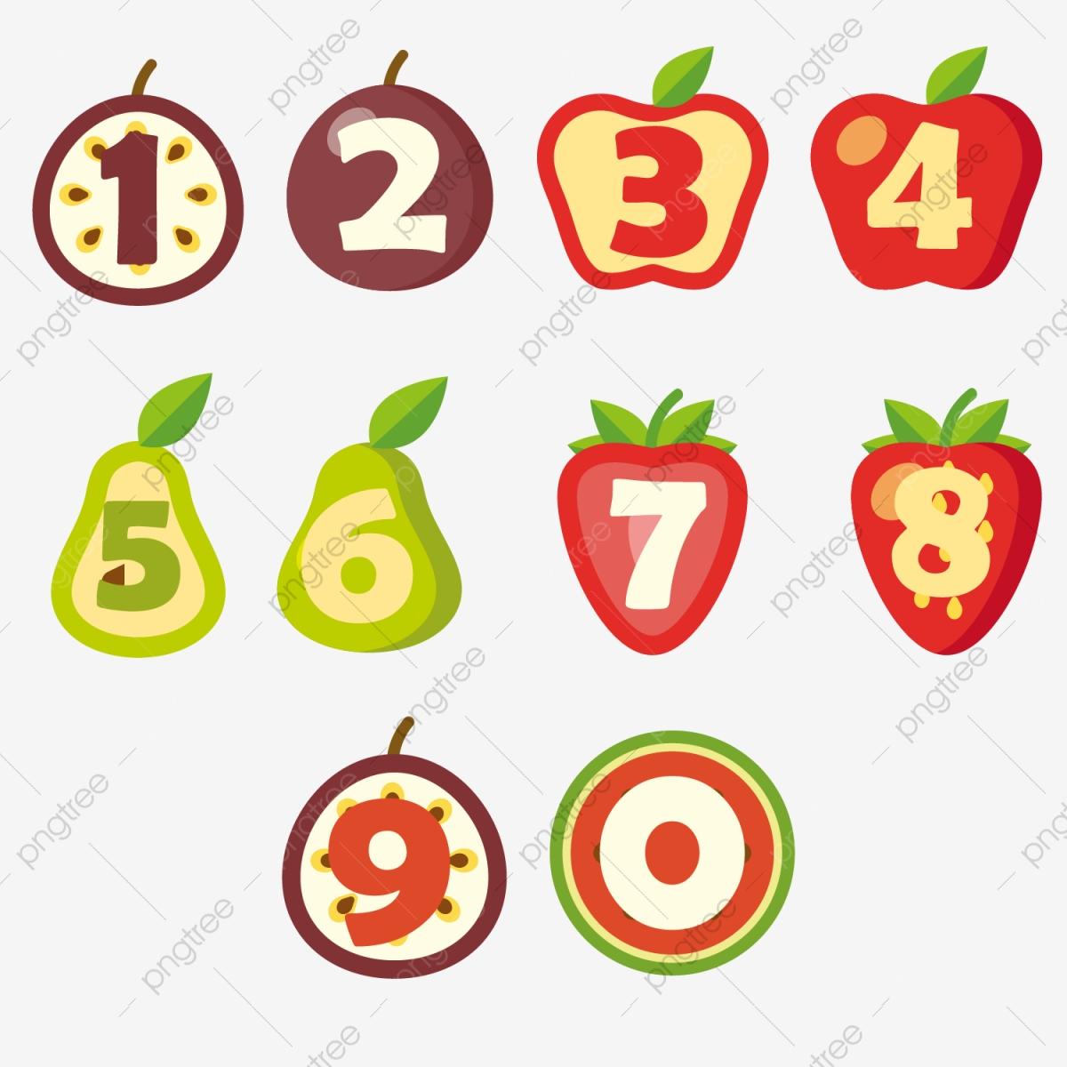 Creative Fruit Digital Art Word Fruit 1 2, 3, Arabic Numerals.