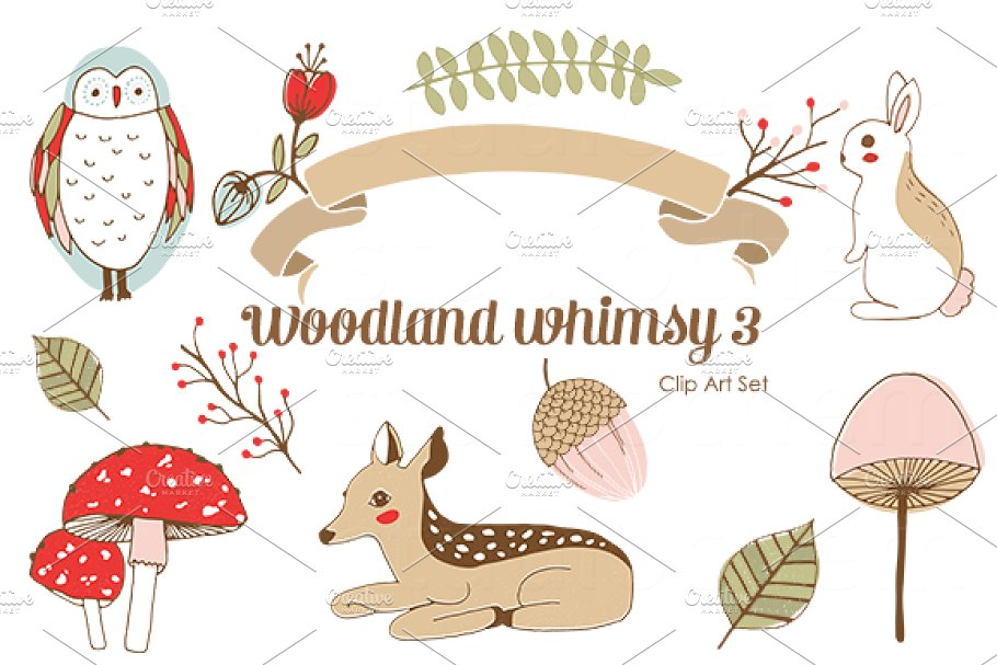 Woodland Whimsy 3 .png Clip Art Set.