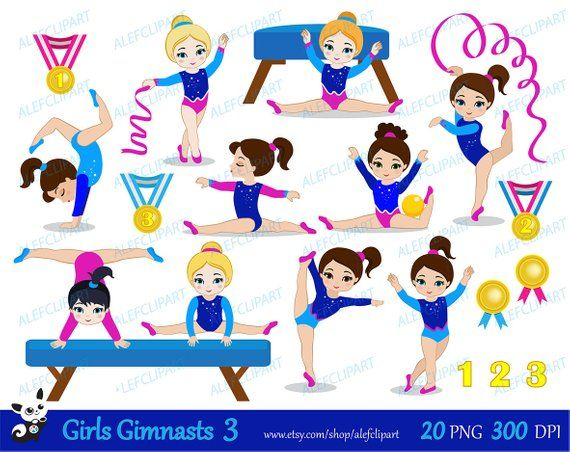 Gymnastics Girls Digital Clipart Set 3.