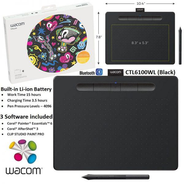 Wacom CTL6100 Intuos Medium Bluetooth Graphic Tablet, Art, Draw, Design,  Sketch, 3 Free Software, 4096 Pressure Level, CTL6100WL.