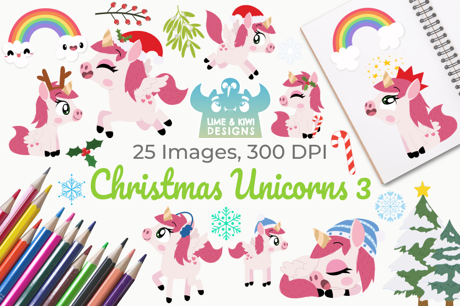 Christmas Unicorns 3 Clipart, Instant Download Vector Art.