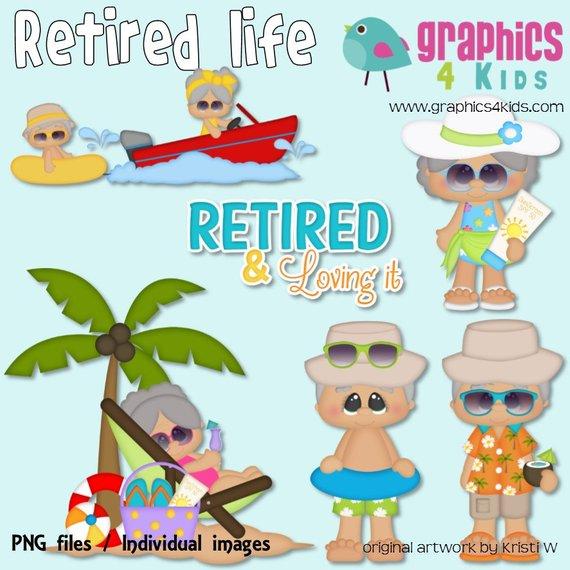 Retirement life Digital Clipart.