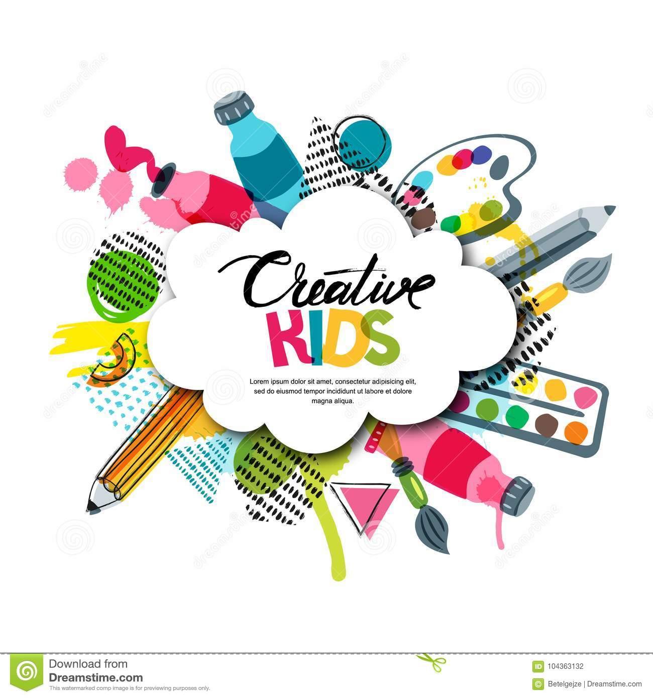 Kids Art Craft, Education, Creativity Class. Vector Banner, Poster.