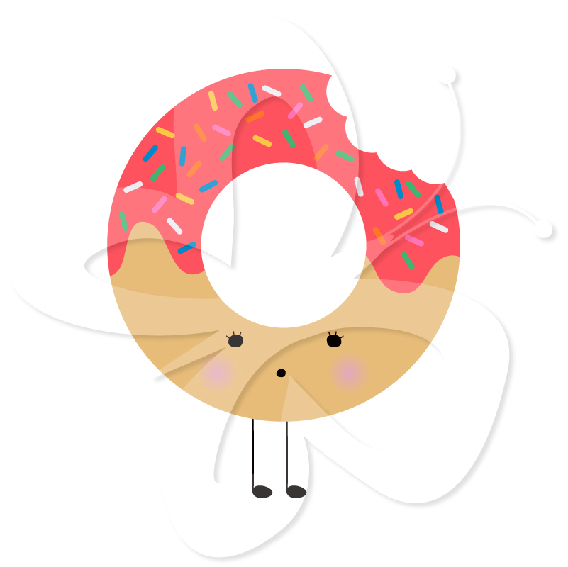 Kawaii Cute Donut Food Clipart.