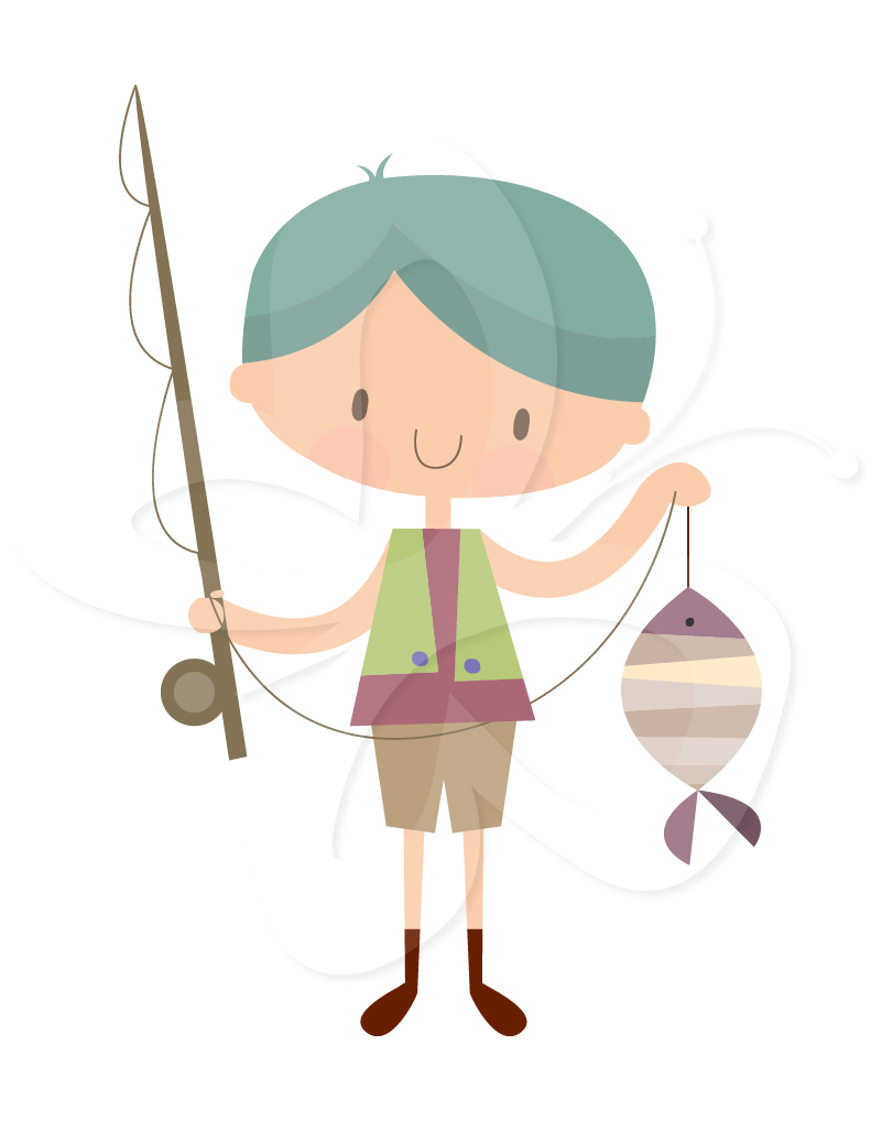 Fisherman fishing clipart set creative clipart collection.