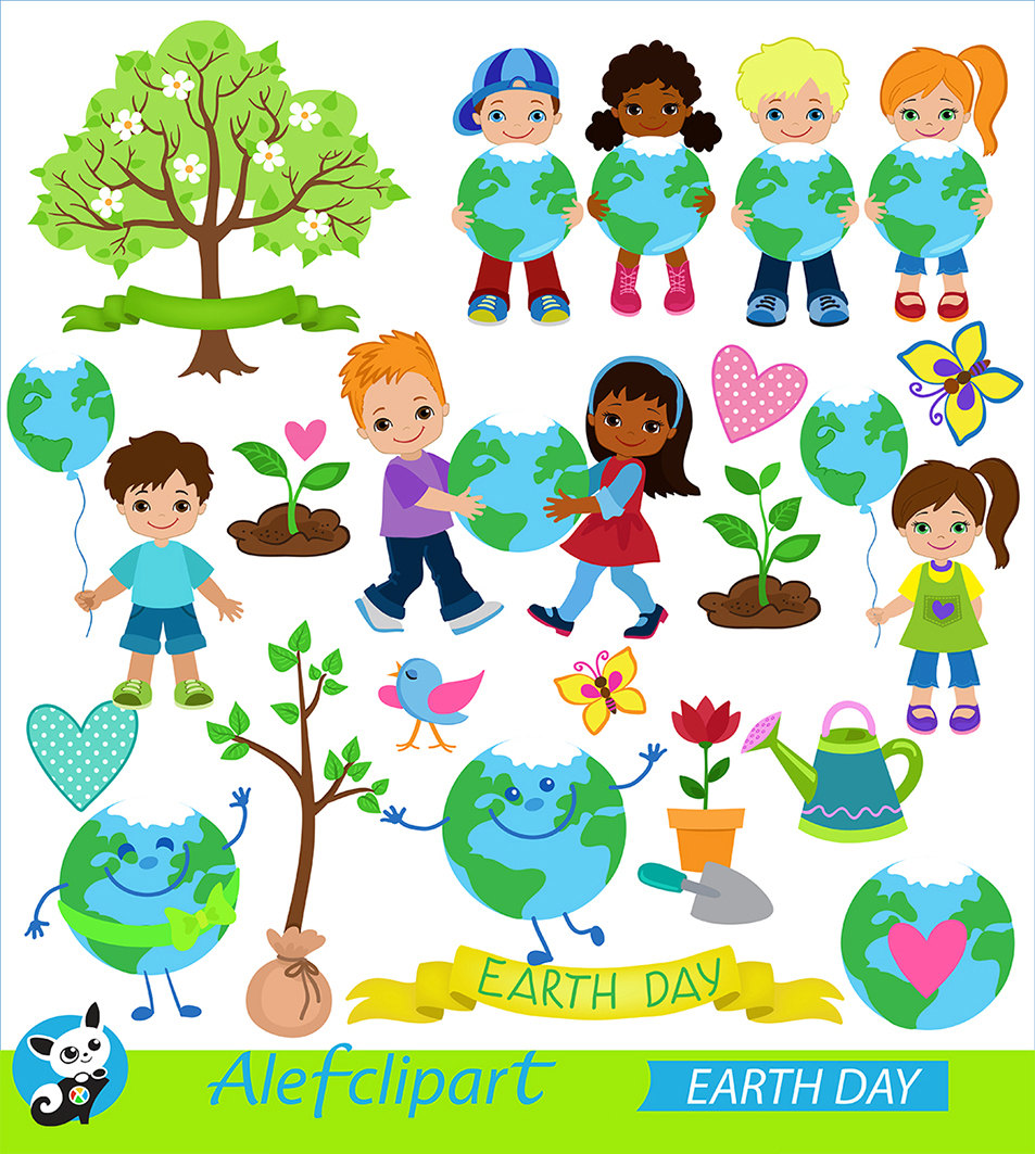 Clipart Earth Day. Digital Clipart. Creative Clips..