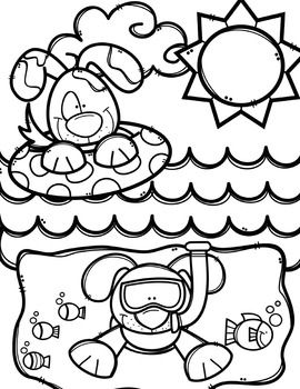 Summer Coloring Pages (+ writing papers) {Made by Creative.