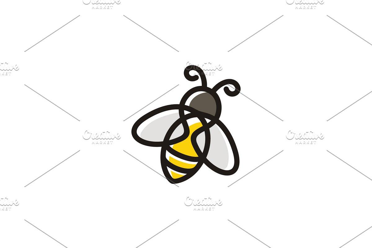 Cute Line Clip Art Bee logo design.