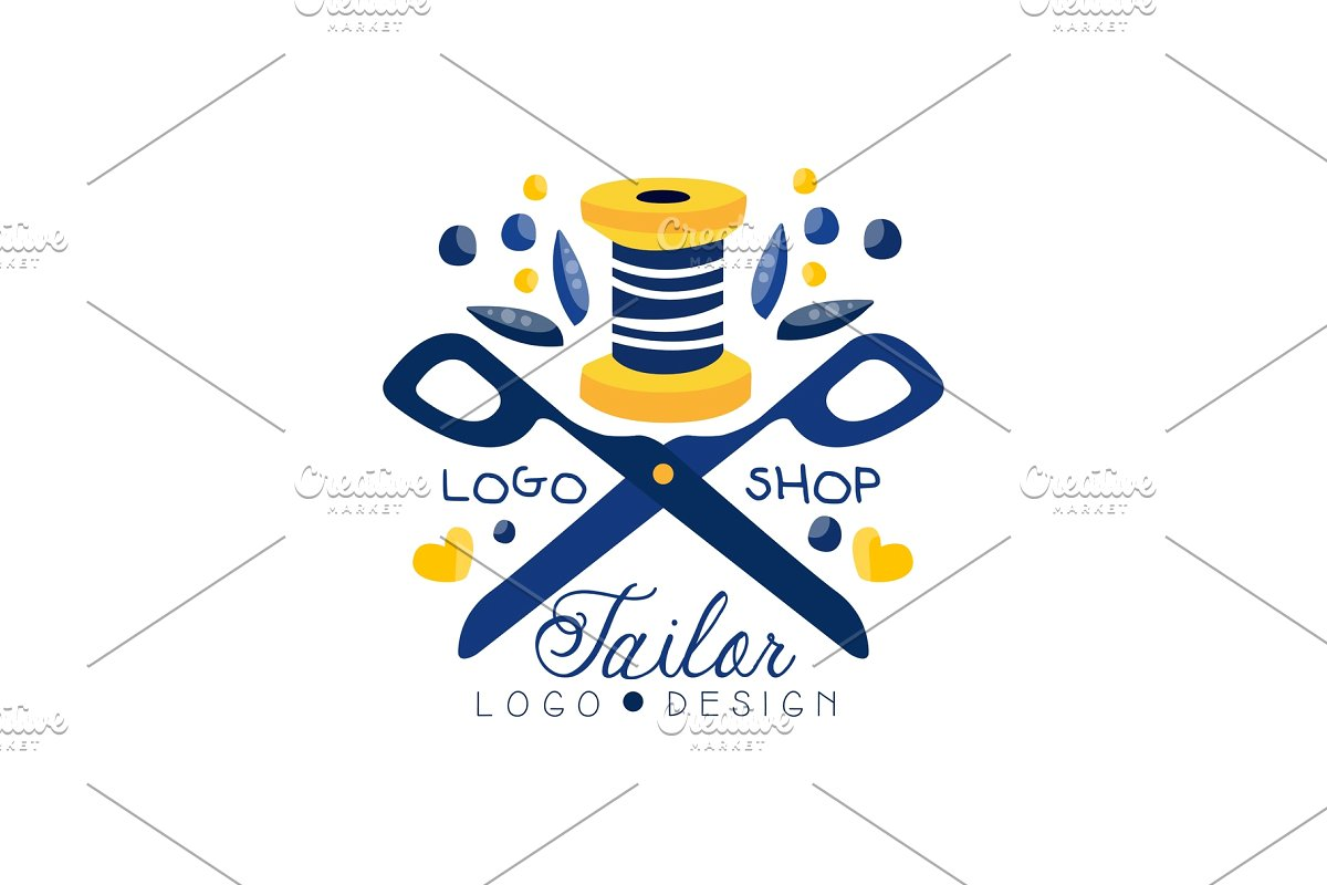 Tailor shop logo design, sewing.
