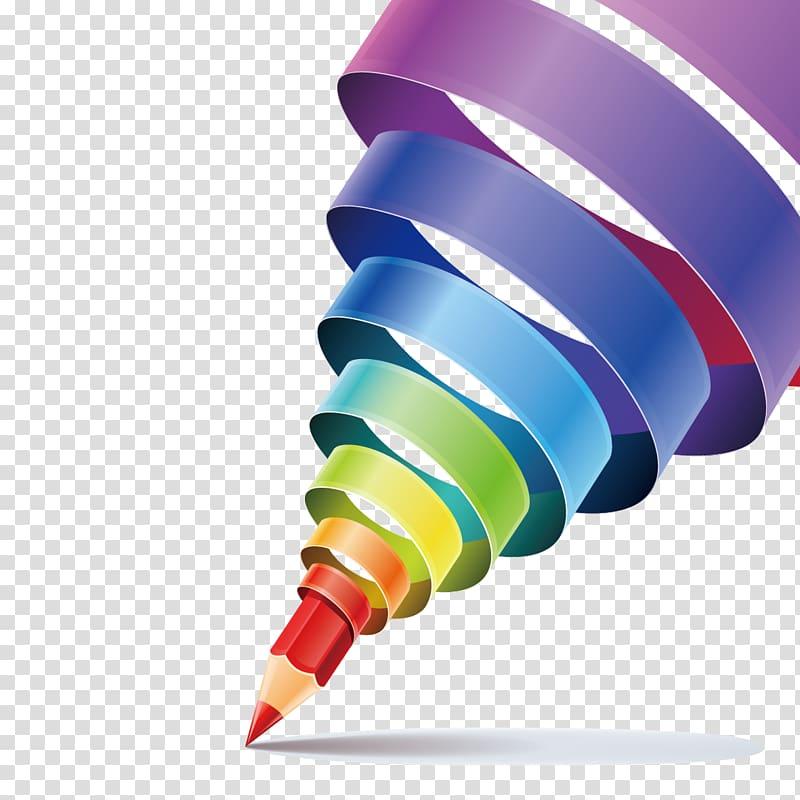 Red pencil, Creativity Graphic design, Creative pen material.
