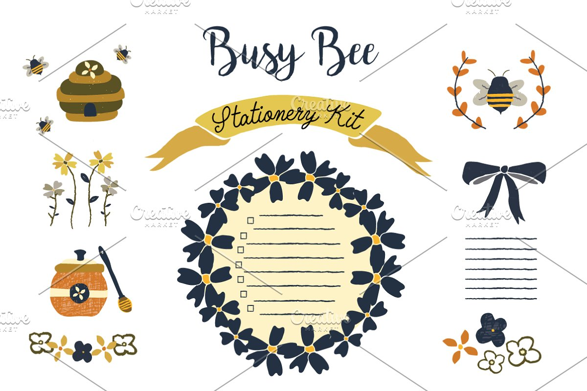 Busy Bee Stationery Kit Clip Art.