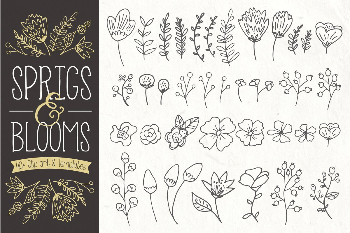 Sprigs & Blooms Clipart +Bonus Logos ~ Graphic Objects.