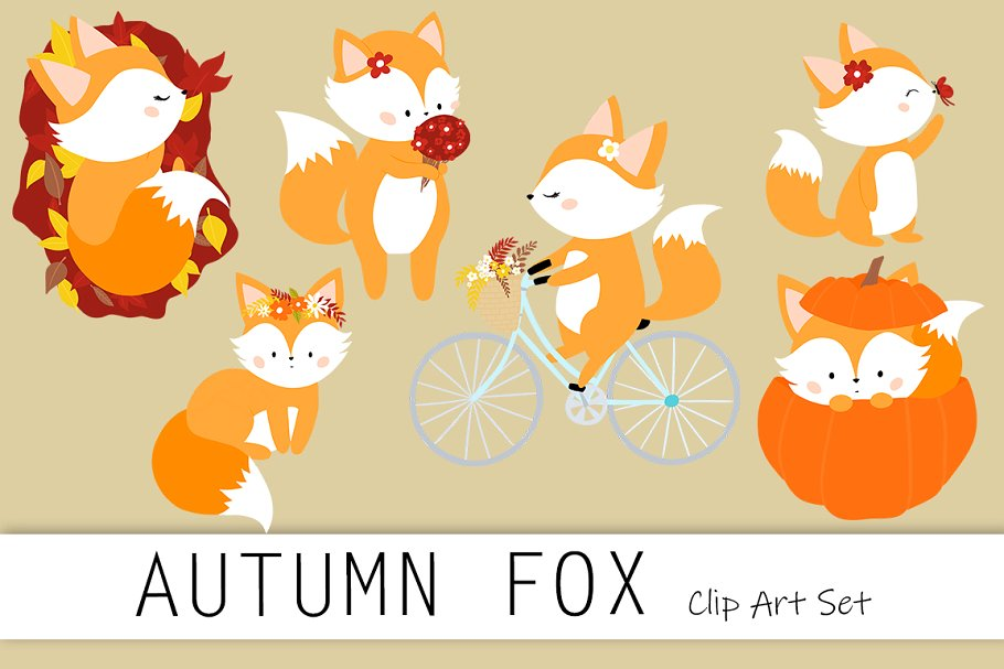 Autumn Fox clip art set.