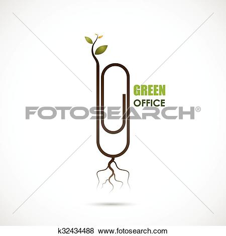 Clip Art of Creative paper clip logo design. Save the World and Go.