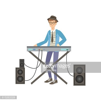 Guy Playing Electric Piano, Creative Person Illustration.