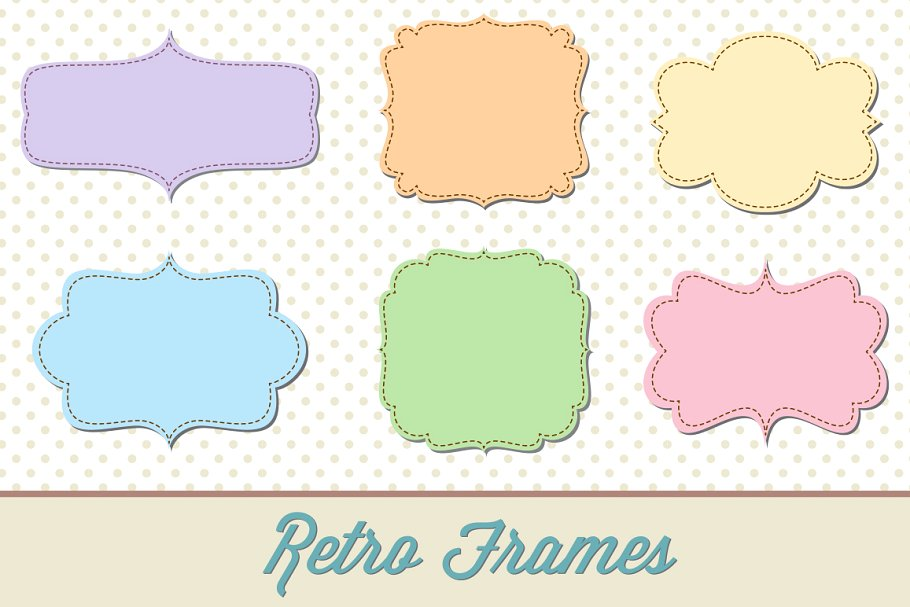 Retro Label Frames Shapes Set No. 29.