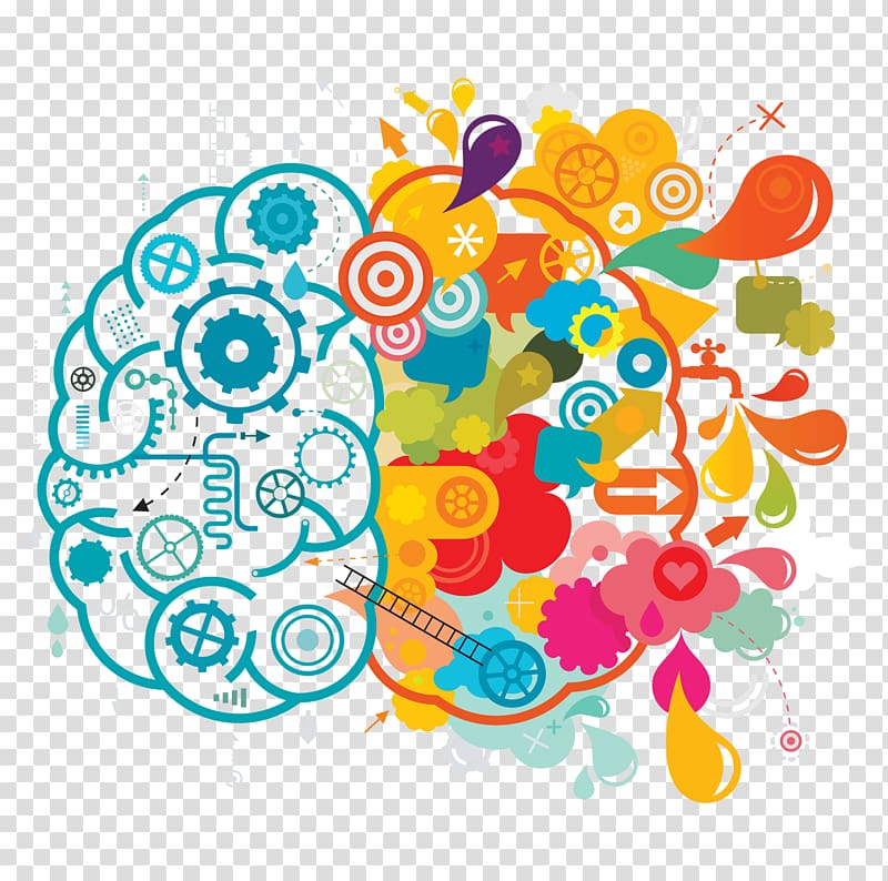 Two blue and multicolored brain illustration, Creativity.
