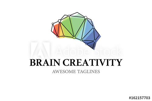 Brain Creativity Logo Illustration Vector Design.