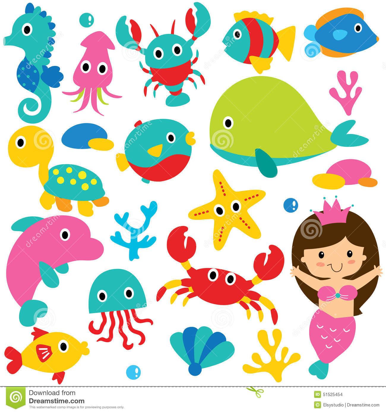 Cute Sea Creature Clipart.