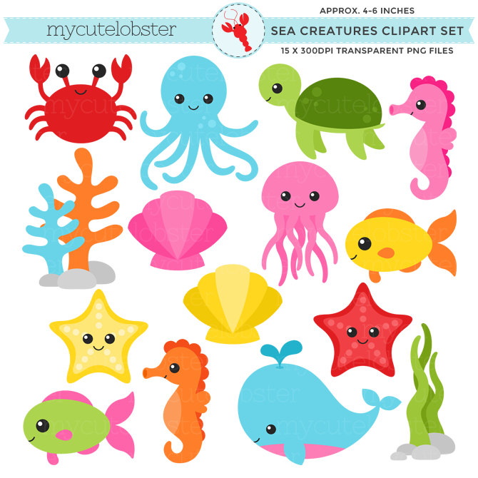 Under the sea creatures clipart.