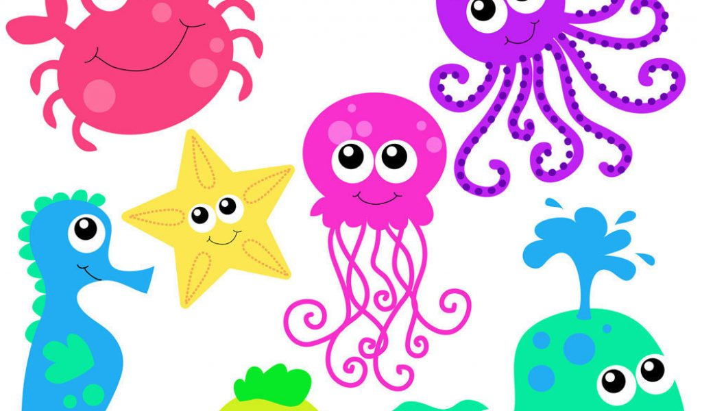 Cute sea creatures clipart.