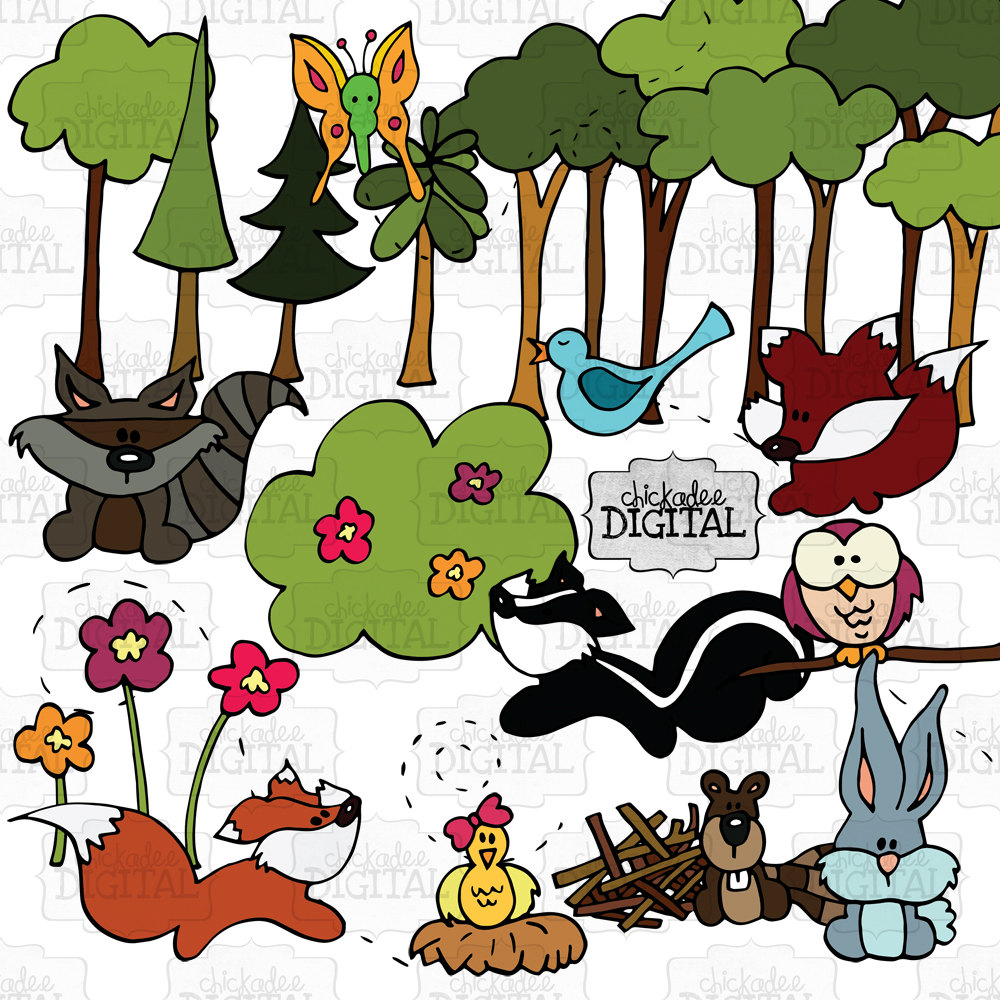 Woodland Creatures Clipart Forest Animals by ChickadeeDigital.
